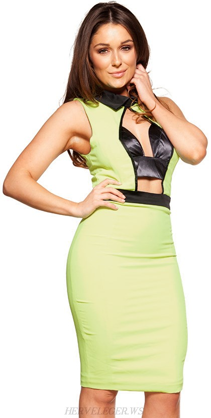 Herve Leger Green Collar Cutout Bandage Dress