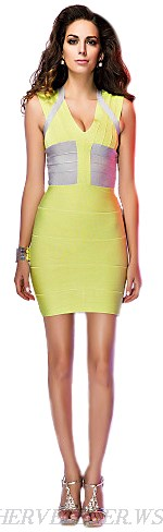 Herve Leger Lime Silver Colorblock Bandage Dress