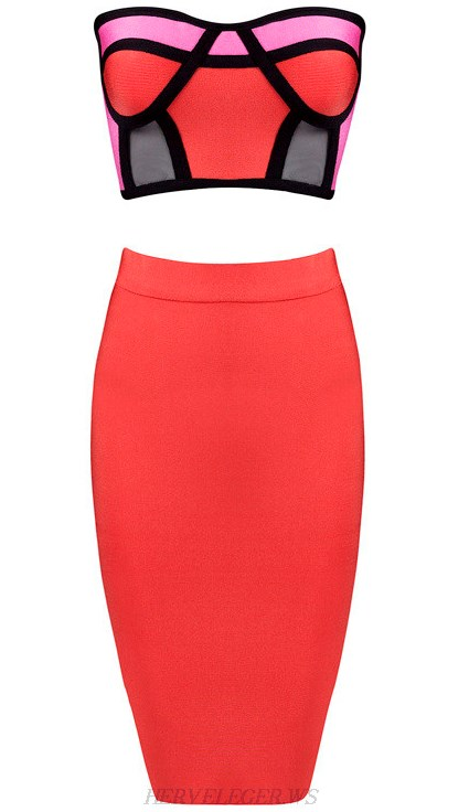 Herve Leger Pink And Red Colorblock Bandeau Two Piece Dress