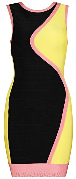 Herve Leger Pink Black Yellow Colour Block Bandage Dress