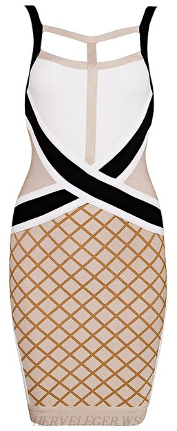 Herve Leger Colour Block Cutout Front Bandage Dress