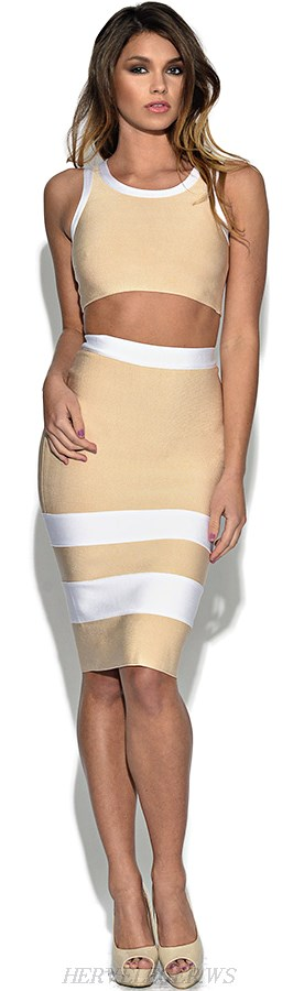 Herve Leger Nude Contrast Panel Bandage Top Skirt Two Piece Dress