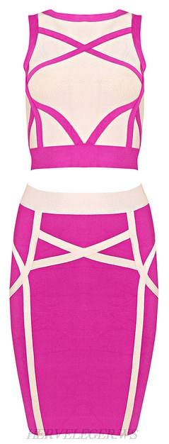 Herve Leger Pink Contrast Panel Bandage Two Piece Dress