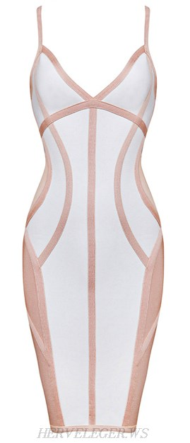 Herve Leger Pink White Contrast V Neck Bandage Dress