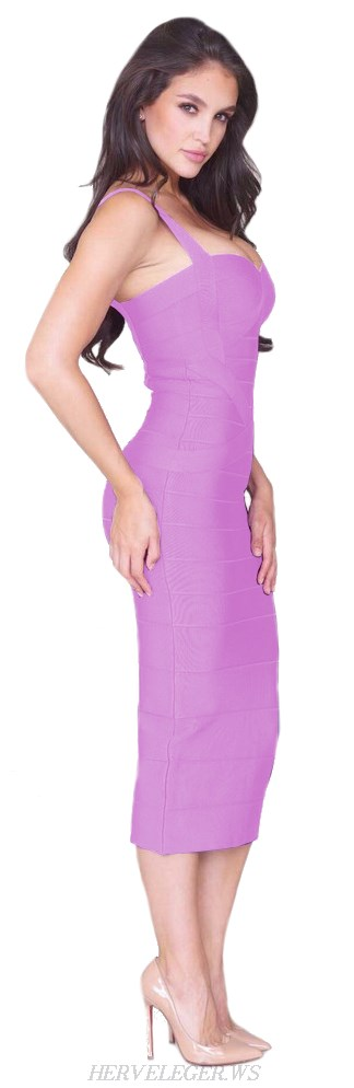 Herve Leger Lilac Crisscross Bandage Dress