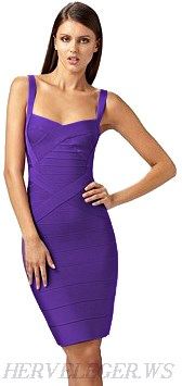 Herve Leger Purple Crisscross Strap Bandage Dress