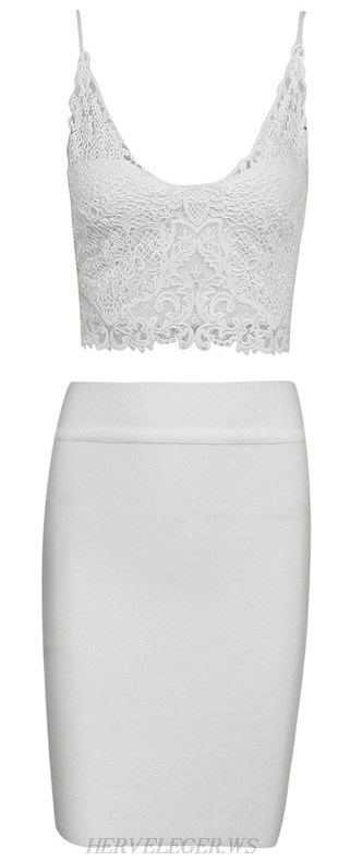 Herve Leger White Crochet Bandage Top Skirt Two Piece Dress