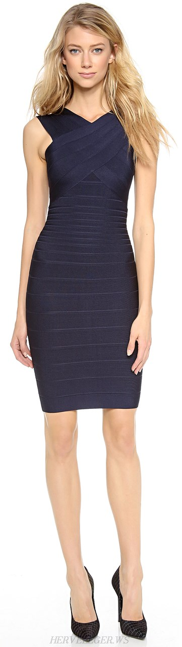 Herve Leger Navy Cross Over Halter Neck Bandage Dress