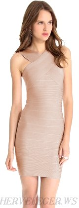 Herve Leger Nude Cross Over Halter Neck Bandage Dress