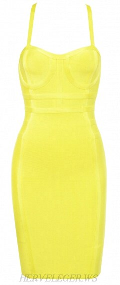 Herve Leger Yellow Crossback Bandage Dress