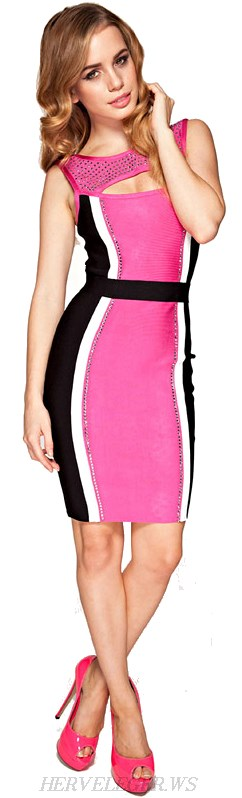 Herve Leger Pink Crystal Embellished Cutout Colour Block Bandage Dress