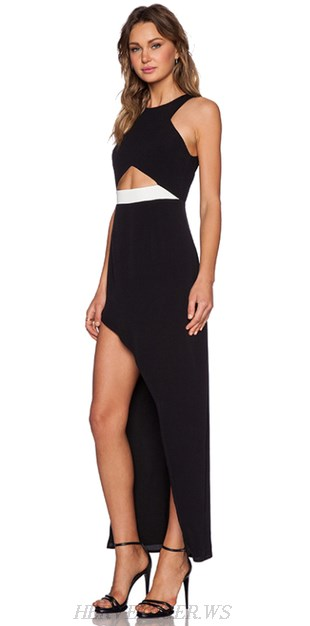 Herve Leger Black And White Cut Out Asymmetrical Gown