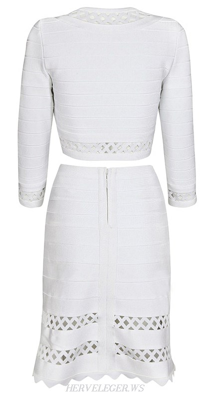 Herve Leger White Cut Out Bandage Jacket Skirt Two Piece Dress