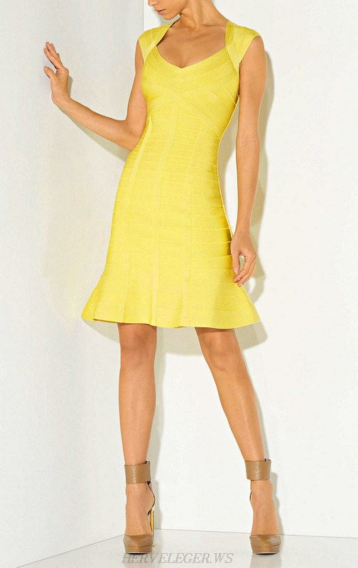 Herve Leger Yellow Cut Out Fluted Bandage Dress