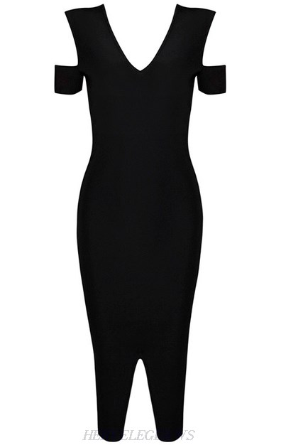 Herve Leger Black Cut Out Front Slit Dress
