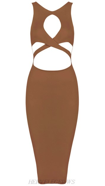 Herve Leger Brown Cut Out Bandage Dress