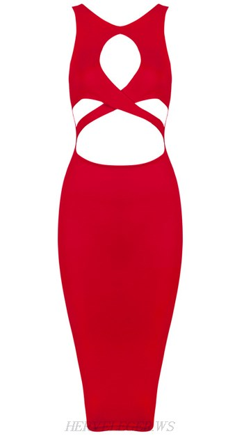 Herve Leger Red Cut Out Bandage Dress