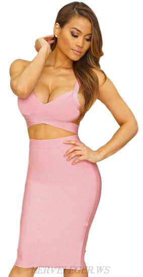 Herve Leger Pink Cut Out Two Piece Bandage Dress