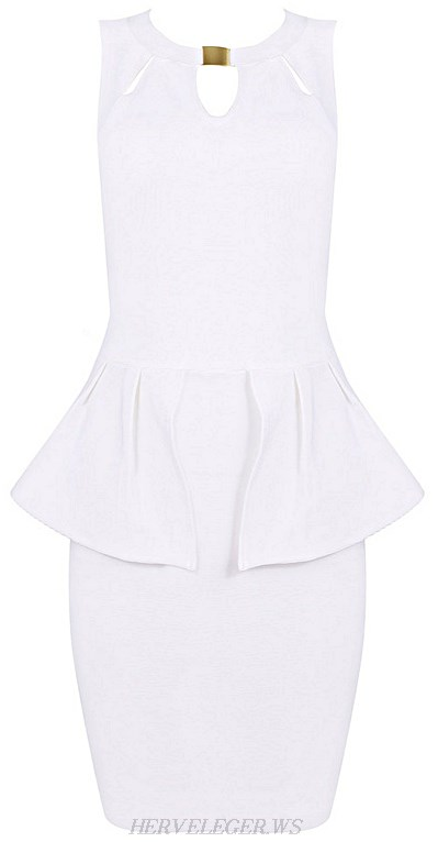 Herve Leger White Cut Out Peplum Bandage Dress