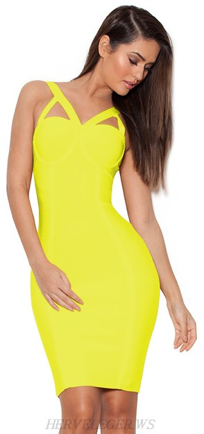 Herve Leger Cut Out Straps Bandage Dress Yellow