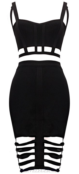 Herve Leger Black Cut Out Two Piece Bandage Dress