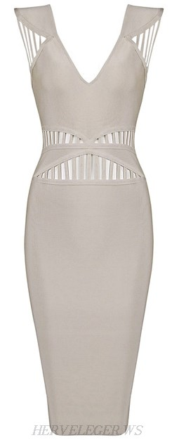 Herve Leger Grey Cut Out V Neck Bandage Dress
