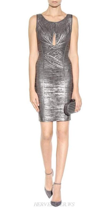 Herve Leger Silver Cut Out Woodgrain Foil Print Dress