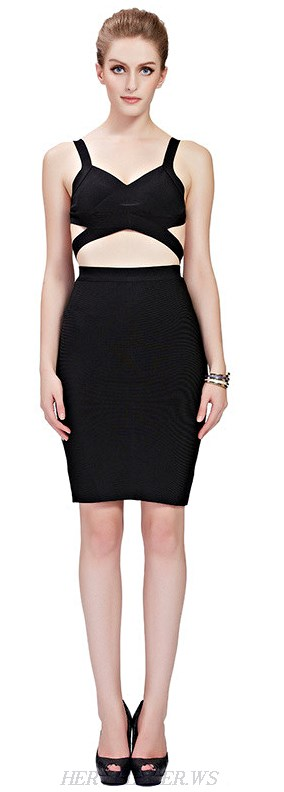 Herve Leger Black Cut Out Wrap Two Piece Bandage Dress