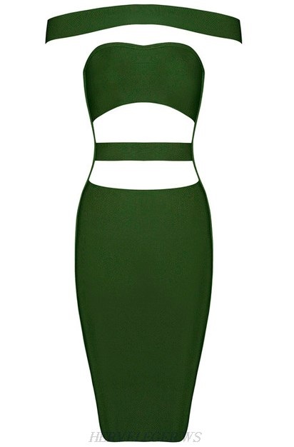 Herve Leger Green Cutout Panel Bardot Dress