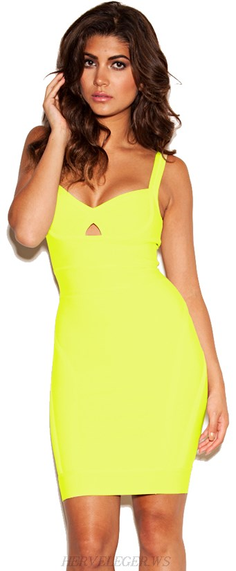 Herve Leger Yellow Cutout V Neck Bandage Dress