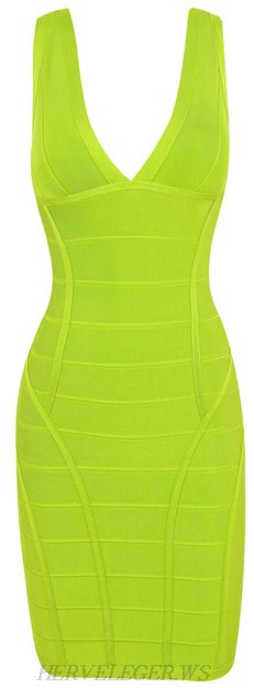 Herve Leger Apple Green Deep V Neck Bandage Dress