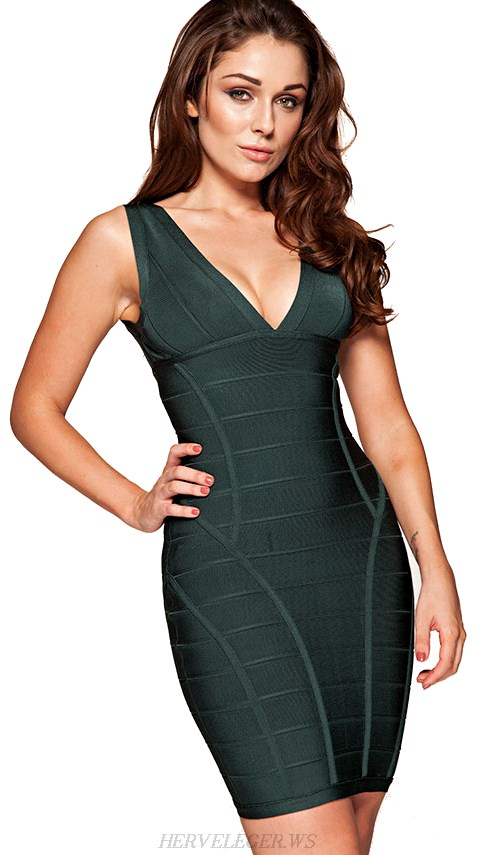 Herve Leger Green Deep V Neck Bandage Dress
