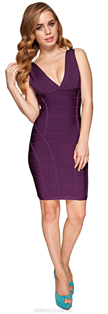 Herve Leger Purple Deep V Neck Bandage Dress