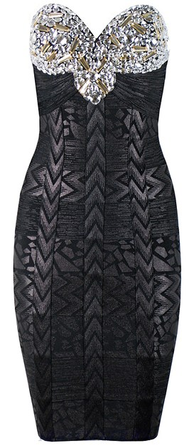 Herve Leger Black Embellished Bandeau Woodgrain Foil Print Dress