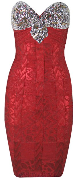 Herve Leger Red Embellished Bandeau Woodgrain Foil Print Dress