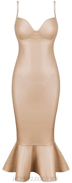 Herve Leger Nude Faux Leather Fluted Dress