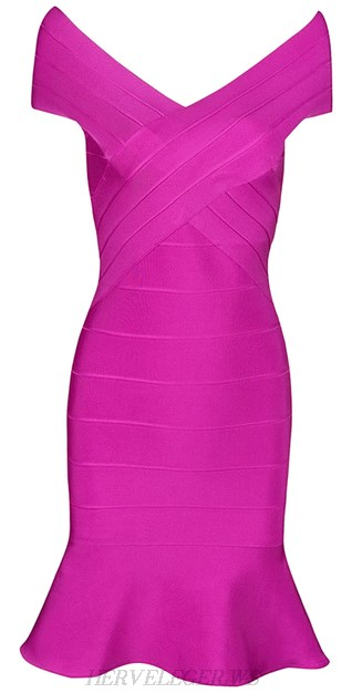Herve Leger Pink Fluted Bardot Bandage Dress