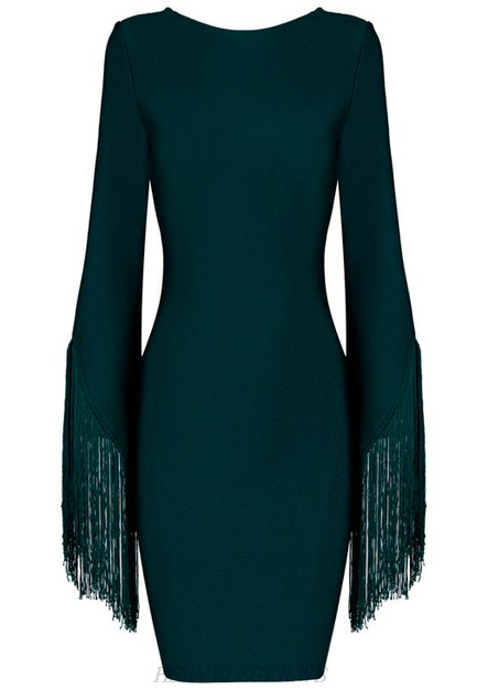 Herve Leger Green Fringed Sleeves Backless Dress