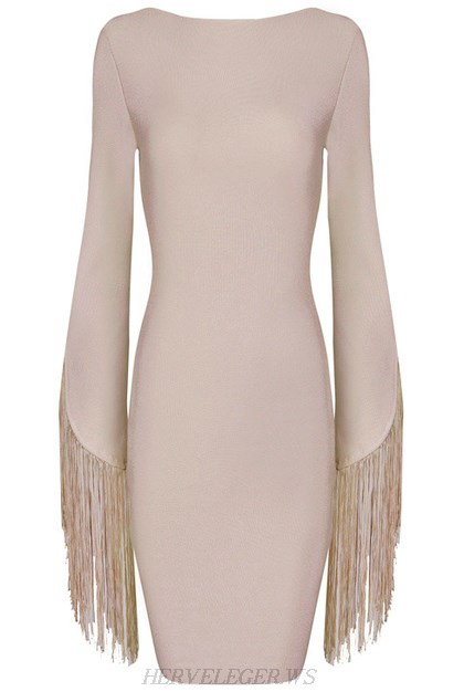 Herve Leger Nude Fringed Sleeves Backless Dress