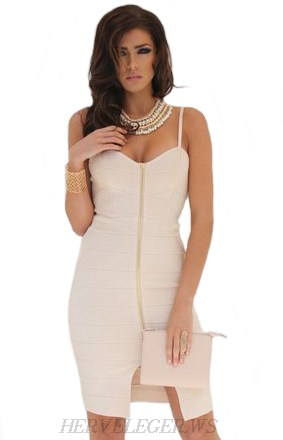 Herve Leger Nude Strapless Front Zip Bandage Dress