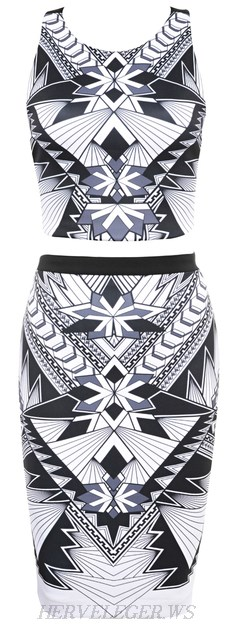 Herve Leger Monochrome Geometric Print Two Piece Bandage Dress