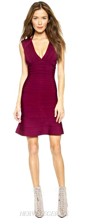 Herve Leger Burgundy Halter A Line Bandage Dress