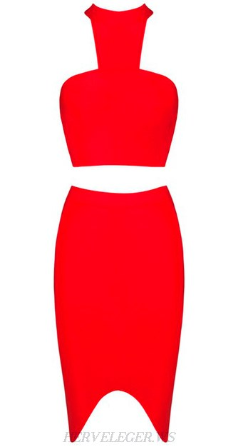 Herve Leger Red Halter Asymmetrical Two Piece Dress