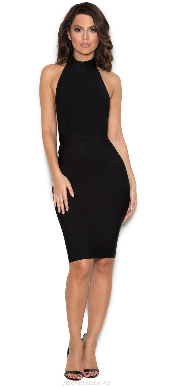 Herve Leger Black Halter Backless Bandage Dress