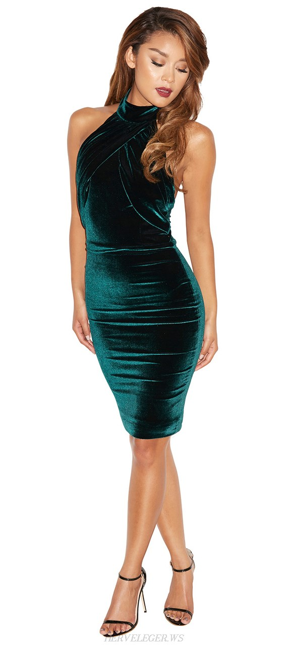 Herve Leger Green Halter Backless Dress