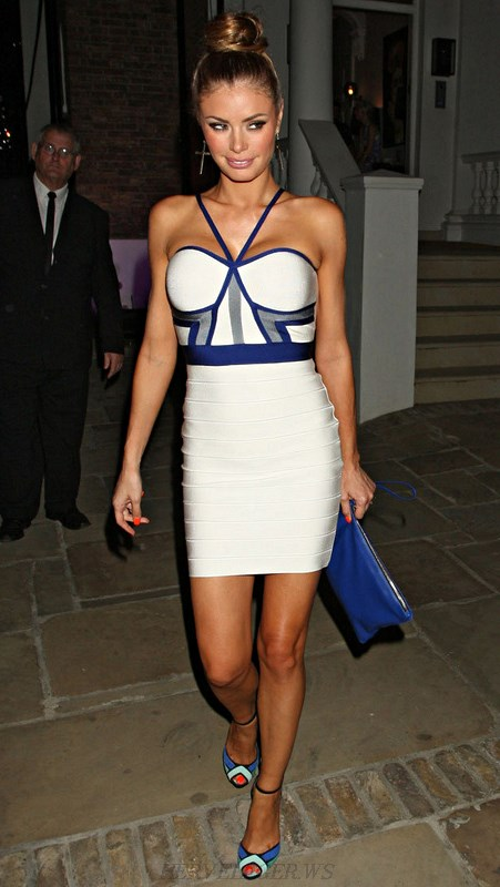 Herve Leger Blue White Halter Bandage Dress