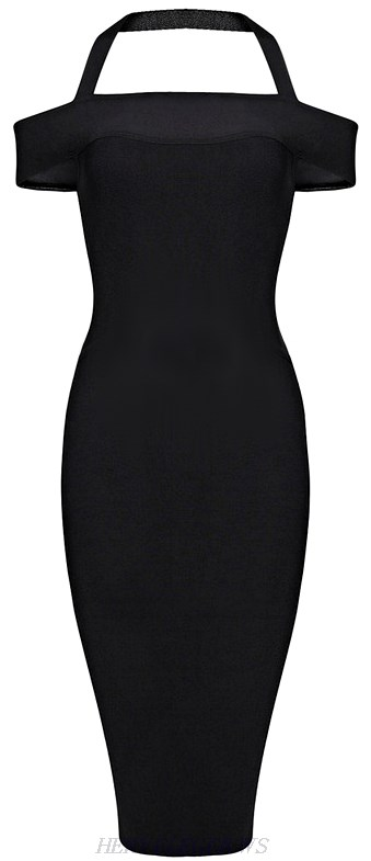 Herve Leger Black Halter Bardot Bandage Dress