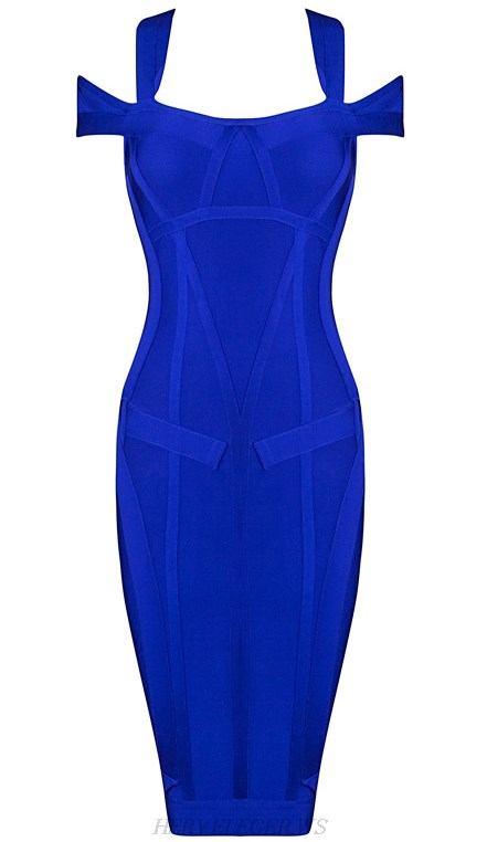 Herve Leger Blue Halter Bardot Textured Dress