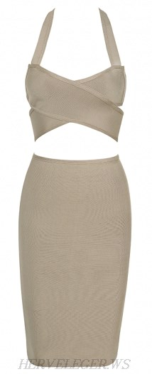 Herve Leger Grey Halter Criss Cross Two Piece Bandage Dress
