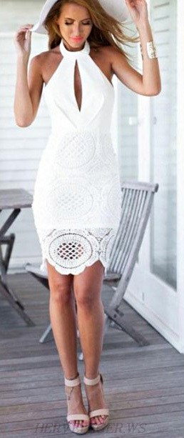 Herve Leger White Halter Cut Out Crochet Bandage Dress